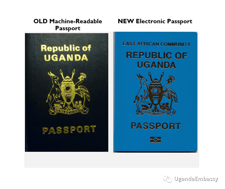 Uganda old and new passports side by side